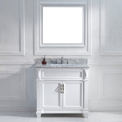 VIRTU - Victoria 36-inch White Single Square Sink Vanity Set - Inspired from quality combinations of the Caroline and the Huntshire,the Victoria single sink bathroom vanity is built to present a bold and elegant look. The vanity comes with two soft closing doors,brushed nickel handles and a mirror to match.