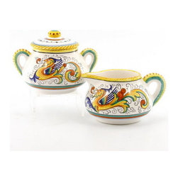 Artistica - Hand Made in Italy - RAFFAELLESCO: Creamer and Sugar Bowl set - RAFFAELLESCO Collection: Among the most popular and enduring Italian majolica patterns, the classic Raffaellesco traces its origin to 16th century, and the graceful arabesques of Raphael's famous frescoes.