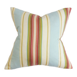 The Pillow Collection - Douce Natural Blue 18 x 18 Stripes Throw Pillow - - Pillows have hidden zippers for easy removal and cleaning  - Reversible pillow with same fabric on both sides  - Comes standard with a 5/95 feather blend pillow insert  - All four sides have a clean knife-edge finish  - Pillow insert is 19 x 19 to ensure a tight and generous fit  - Cover and insert made in the USA  - Spot clean and Dry cleaning recommended  - Fill Material: 5/95 down feather blend The Pillow Collection - P18-D-CLAIRESTRIPE-NATURALBLUE