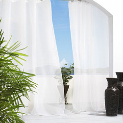 Escape - Escape Grommet Top 96 inch Indoor/Outdoor Voile Curtain Panel Pair - Update,revitalize,or refresh any indoor or outdoor living space with this stunning white polyester 96-inch curtain panel. A sheer white panel providing a light,airy atmosphere,perfect for hot weather,it is weather-resistant and machine washable.