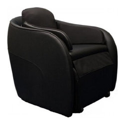 "Omega Aires BLACK Hidden Legrest Full Body Massage Chair w/ Foot Reflexology - Features:- 1 Automatic Air Massage Program - 3 Manual Air Massage Programs- 3 Levels of Air Pressure Intensity- 19 Airbags (14 Calves/Feet, 1 Seat, 2 Back, & 2 Neck)- Heaters for the Feet- Foot Roller Massage- 3 Speeds for Foot Roller- Motorized Leg Rest803c 803fAir Massage Programs: The Aires massage chair comes complete with an air compression massage system. It has a total of 19 airbags located throughout the chair. There are three different manual massage programs enabling you to target the back, waist or calves and feet or select the automatic program for the ultimate in relaxation. You can also activate each manual massage program separate or in combination. There are 14 airbags for the feet and calves, 2 airbags for the waist, 2 airbags for the back and 1 airbag for the buttocks. The intensity of the air compression massage can also be adjusted to three different levels.Foot Roller: A foot roller is located underneath the soles of the feet to provide more thorough penetration and revitalization of the feet. The foot roller provides relief for tired and aching feet. This is perfect for those who enjoy a thorough foot massage. The foot roller is located under the balls and arch of the foot to ease tight muscles in the feet.Foot Heaters: The Aires massage chair comes equipped with heaters to provide warmth and relaxation to the feet. The heating elements are located beneath the soles of the feet to provide a more thorough and complete massage experience. The heat can be activated with the touch of a button. Feel the soothing comfort of warmth for your feet during the massage.Motorized Leg Rest: The Aires chair comes with a motorized leg rest. The leg rest can be extended when a foot and calf massage is desired. The massage features can be used with or without extending the leg rest out from under the chair. Use the remote control to retract the leg rest when your foot and calf massage is complete to hide it back under the chair.Remote Control: The remote control enables you to select from manual or automatic massage programs. You can activate the heat feature for the feet. Select from 3 different levels of air massage intensity to suit your needs. The leg rest can be automatically extended or retracted with the remote control. The remote control can be stored in the side pocket of the chair when not in use.Manual Program Options:Upper body: manually select compression style massage for the back, waist and buttocks. Customize the air intensity with weak, medium and strong air pressure. The back has 2 airbags, the waist has 2 airbags and there is one air bag for the buttocks. Get the relief you deserve in the stylish Aires massage chair.Lower body: manually choose the different combinations of therapies for your tired and aching lower body. Treat your calves and feet to a variety of treatments at the touch of a button. Let the 14 airbags pamper your feet and calves with soothing relief. You can also activate heat for the soles of your feet to enhance the effectiveness of the massage. For deeper penetration use the foot roller. The foot roller is adjustable with 3 different speeds for your comfort and relaxation.Foot Reflexology Massage: Within the hidden leg rest is a specially designed foot reflexology massage mechanism. There are 14 strategically placed airbags with trigger point nodules. The nodules are utilized during the compression cycles for the airbags causing the pressure points in the foot to be activated. During the compression cycle the nodules stimulate different areas of the feet to gently squeeze and stretch the foot. This helps to release tension, increase lower body circulation, and enhance overall relaxation.Powered Leg Rest: The leg rest can be extended or retracted with the remote control. Push once to extend out the leg rest. To retract the leg rest hold the button until it disappears underneath the seat.SPECIFICATIONS:- Operating Voltage: 110~120V / 50~60Hz - Power Consumption: 120 to 160 Watts- Massaging Session: 15 Minutes- Number of Airbags: 19- Heater in Soles of Feet- Dimensions: W28"" x D32"" x H32""- Chair Net Weight: 100 lbs- Box Dimensions: W30"" x L 32"" x H32""- Gross Weight Boxed 110 lbs- Upholstery Material Ultra Soft Fire Retardant PVC Leather"