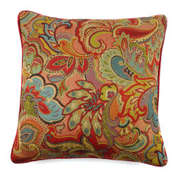 KOVI Home Decor - Rio Pillow Cover Red, Red - The Rio Pillow Cover in Red color is handcrafted from a Rayon/Polyester blend in high quality commercial grade fabric which is very soft to the touch. This festive and colorful pattern can complement a variety of environments. This pillow cover is handmade featuring a red trim and contains a concealed zipper for easy removal for dry cleaning. The pattern is woven into the fabric; therefore the pillow cover will retain color better and is much more durable than a printed pattern. It also creates an intricate texture to the touch.