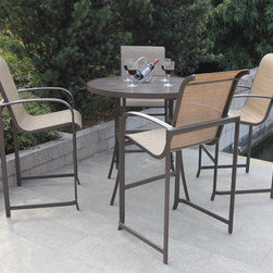 Bellini - Wellington 5-piece High Outdoor Dining Set - Enjoy warm summer nights or sunny spring days with this contemporary patio set. This tall set is finished in a stylish brown powder coating and includes weather and UV protection, allowing you to enjoy the great outdoors for years to come.