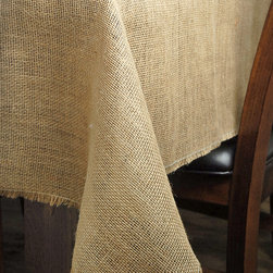 zulily - 72'' Square Burlap Tablecloth - Welcome guests with a fabulous place setting featuring this subtle yet rustic tablecloth. The delicately crafted burlap design adds vintage charm to Sunday brunch and beyond.   72'' x 72'' Burlap Imported