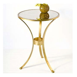 Worlds Away - Worlds Away 3 Leg Gold Plain Round Table - 3-leg round table in umber glaze gold leaf with antique mirror top.