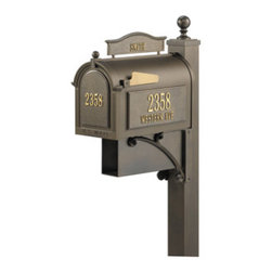 Whitehall Products LLC - Ultimate Mailbox Package - Bronze - Ultimate Mailbox Package - Bronze - Includes: Capital Mailbox Deluxe Post with Brackets and Finial Personalized Side Plaques (2)