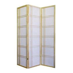 ORE International - 3-Panel Folding Room Divider - Hinged sections flex and fold. Dry dust. White rice paper panels. Screen made of wood frame . Made from pine. No assembly required. 50 in. L x 6 in. W x 70 in. H (10 lbs.)Add style to any room with this Contemporary screen. Both modern and traditional design elements unite through the construction of this wood framed room divider, a versatile way to add textural and architectural interest to your home's decor.