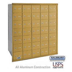 Salsbury Industries - 4B+ Horizontal Mailbox - 35 A Doors - Gold - Rear Loading - USPS Access - 4B+ Horizontal Mailbox - 35 A Doors - Gold - Rear Loading - USPS Access