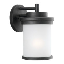 Sea Gull Lighting - Sea Gull Lighting Winnetka Transitional Outdoor Wall Sconce X-581-06688 - This Sea Gull Lighting outdoor wall sconce is clean and stylish, making it a welcome addition to any outdoor space. From the Winnetka Collection, it comes in a beautiful combination of Forged Iron with a satin etched glass shade or a rich Misted Bronze with a cafe tint glass shade to compliment your home's exterior.