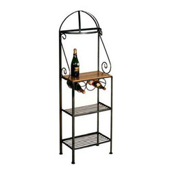 """Grace Manufacturing - 19 Inch Gourmet Bakers Rack with Maple Shelf, Antique Bronze - Dimensions: 19""""W x 64""""H"""