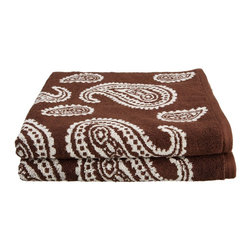 Egyptian Cotton 550 GSM Paisley 2 Piece Bath Towel Set - Chocolate - These 550 GSM Towels feature an exotic paisley pattern. The towels are thick and absorbent while being durable and long lasting. This set includes Two Bath Towels 30x52 each.