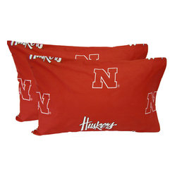 College Covers - NCAA Nebraska Huskers Pillowcases Two-Pack Red Set - Features: