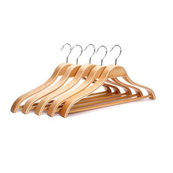 J.S. Hanger - J.S. Hanger®Solid Wooden Suit Hangers with Chrome Hooks, 5-Pack - Feature:
