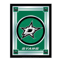 "Holland Bar Stool - Holland Bar Stool Dallas Stars Logo Mirror - Dallas Stars Logo Mirror belongs to NHL Collection by Holland Bar Stool The perfect way to show your team pride, our logo mirror displays your team's symbols with a style that fits any setting.  With it's simple but elegant design, colors burst through the 1/8"" thick glass and are highlighted by the mirrored accents.  Framed with a black, 1 1/4 wrapped wood frame with saw tooth hangers, this 17""(W) x 22""(H) mirror is ideal for your office, garage, or any room of the house.  Whether purchasing as a gift for a recent grad, sports superfan, or for yourself, you can take satisfaction knowing you're buying a mirror that is proudly Made in the USA by Holland Bar Stool Company, Holland, MI.   Mirror (1)"