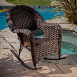 Christopher Knight Home - Christopher Knight Home Woodlands Wicker Rocker - Rock and recline anywhere outdoors in the Woodlands Wicker Rocker. It's style is classy enough even for indoor use.