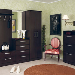 Las Vegas 4 PC Hall Unit with Hanger, Mirror and Shoe Unit - Stylish Las Vegas Hall Unit will help organize the space of even a small hallway. 4 PC Hall Unit includes Wall Stand with Hanger and 2 Drawers, Hall cabinet with mirror, 2-Door Wardrobe and Shoe Unit. All parts are made of high quality and durable materials. It is available in Dark Oak Ferarra and Wenge.