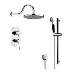 Remer - Sleek Polished Chrome Rain Shower Faucet with Slide Rail - Single function shower faucet.