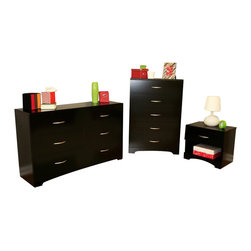 South Shore - South Shore Maddox Dresser Chest and Nightstand Set in Pure Black - South Shore - Dressers - 31070103PKG