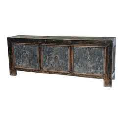 Large Blue/Grey Sideboard Cabinet / TV Console - Solid wood, hand painted vintage sideboard or TV console.