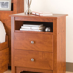 None - Chelsea Cherry 2-drawer & Open Cubbie Nightstand - Enhance your home decor with this sophisticated cherry two-drawer nightstand. This nightstand keeps essential items within arm's reach with the two drawers and cubby space. Its dark pewter hardware gives this piece a finished, modern look.