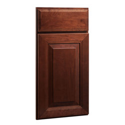 CliqStudios.com - Carlton Cherry Russet Stained Wood Shaker Kitchen Cabinet Sample - The updated traditional styling of a raised panel cabinet door brings architectural interest for a timeless look. The CliqStudios Carlton door pairs perfectly with stainless appliances, nickel finish hardware, glass subway tile backsplash, modern bar stools, hardwood floors and granite countertops.  Carlton works equally well in an open concept kitchen, galley kitchen, u-shaped kitchen, kitchen island, kitchen peninsula or in a nearby kitchen desk or window seat. Consider coordinating with a variety of recessed lighting, undercabinet task lighting, pendant lighting and other decorative accents.