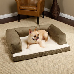 Hidden Valley Products - Beasleys Couch Dog Bed - Microsuede Sage & Beige Polar Fleece Multicolor - BKF/P - Shop for Beds Covers and Fill from Hayneedle.com! Keep your dog off your couch by getting him a couch of his own. The Beasleys Couch Dog Bed - Microsuede in Sage & Beige Polar Fleece comes with a cotton-poly blend microsuede cover that is removable for easy washing. The bolster is filled with a Hypro-Loft fiber a blend of exclusive virgin and recycled fibers and is resistant to shifting and matting to keep its shape. The bottom is made of thick 3-inch convoluted foam with a Sherpa fleece. The overstuffed bolsters on three sides give your pet plenty of homey comfort and support for sleeping and lounging. This stylish dog bed is available in a selection of sizes to fit your pet. Choose from the following sizes though please note sizes will vary slightly. Poly-Suede is quality brushed microsuede fabric heavy duty 12 oz. 100% polyester with added backing for strength and durability washable and easy care comfort at its finest add a touch of luxury with this top-rated microsuede in a collection of colors to match any home decor. Polar Fleece Sherpa: Antipill polar fleece in neutral colors 100% polyestere medium weight will not shrink or ravel water-resistant moisture wicking properties washable smooth brushed finish and soft to touch provies warmth and comfort. Small dog bed dimensions External: 25L x 20W x 12H inches Internal: 17L x 16W inches Fleece Bottom: 3 in. Thickness Medium dog bed dimensions External: 33L x 25W x 12H inches Internal: 25L x 21W inches Fleece Bottom: 3 in. Thickness Large dog bed dimensions External: 40L x 30W x 12H inches Internal: 30L x 24.5W inches Fleece Bottom: 3 in. Thickness Extra large dog bed dimensions External: 54L x 34W x 12H inches Internal: 39L x 28W inches Fleece Bottom: 3 in. Thickness