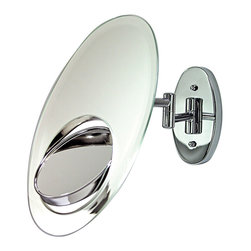 Zadro - Zadro Tri-Optics 1X/5X/7X Oval Wall Mount Mirror In Chrome-Ovw5 - The Tri-Optics Wall Mirror features two premium quality mirrors. The main mirror features a 1x magnification mirror that is great for checking your hair and make-up before you leave. The secondary inset mirror can be rotated 360 degrees, and features a 5x magnification mirror on one side, and a 7x magnification mirror on the other, which allows you to see up-close and in detail, allowing for easy make-up application.