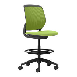 """Turnstone - Cobi Stool - The Cobi Stool by Turnstone is a small, light desk stool that is perfect for the workplace and home office alike. Not a """"task stool,"""" Cobi still combines state-of-the-art materials and good design to provide seated comfort. Flexing top edge, back, and seat encourage movement. 5-star caster base and ring footrest."""