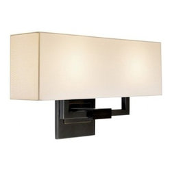 """Sonneman - Sonneman Hanover Large Wall Sconce - The Hanover Large Wall Sconce by Sonneman has been designed by Robert Sonneman. Sometimes balance is just right. Hanover is a masterfully sophisticated, tradisitional design. Strong horizontal lines are built from open rectangular forms: a metal arm penetrates the square column precisely to lift rectangular linen shade. Back plates or bases carry the open armed construction with solid presence and a quiet strength.  Product description:  The Hanover Large Wall Sconce by Sonneman has been designed by Robert Sonneman. Sometimes balance is just right. Hanover is a masterfully sophisticated, tradisitional design. Strong horizontal lines are built from open rectangular forms: a metal arm penetrates the square column precisely to lift rectangular linen shade. Back plates or bases carry the open armed construction with solid presence and a quiet strength.  Details:      Manufacturer:     Sonneman      Designer:    Robert Sonneman        Made in:    USA        Dimensions:     Shade:Height:20.32"""" (8 cm) X Width:5.5"""" (13.97 cm) X Length: 24"""" (60.96 cm)  Wall Plate Width:5"""" (12.7 cm)      Light bulb:     2 X E-12 Candelabra Max 60W Incandescent (not included )        Material:     Metal, Linen"""
