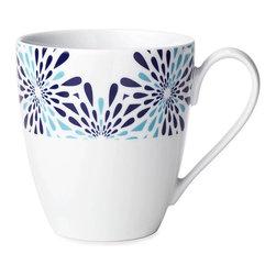 B by Brandie - Fraizer Mugs, Set of 4, Blue - The Fraizer's floral pattern and bold colors make for a playful yet elegant porcelain mug.
