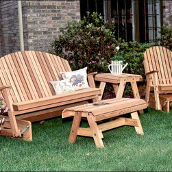 Fifthroom - Red Cedar Blue Mountain Fanback Glider Collection - This gorgeous collection will take your breath away � and so will the savings when purchased as a group!