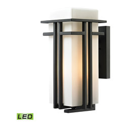 ELK - Elk Lighting 45087/1-LED Croftwell Collection 1 LED Light Outdoor Sconce - This series has bold, yet clean style with a square, opal white blown glass shade and a modern Textured Matte Black finish.