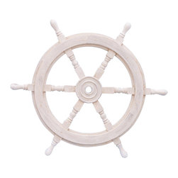 "Handcrafted Model Ships - Classic Wooden Whitewash Ship Steering Wheel 24"" - Decorative Ship Wheel - The Hampton Nautical Classic Wooden Whitewash Ship Steering Wheel 24"" is the perfect nautical wall hanging for your home. Our solid wood ship wheels have been a fan favorite for some time now and are available in vibrant colors. In addition, they are hand-sanded with additional coats of lacquer which give this decorative ship wheel a slight gloss which makes this a perfect nautical decor accent for your home, boat or office."
