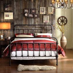 INSPIRE Q Giselle Antique Dark Bronze Graceful Lines Victorian Iron Metal Bed -