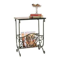 Passport - Magazine Rack w Black Marble Top - De-clutter stacks of magazines and give them a stylish new home. Traditional rack styling is open with scroll insets interlocked with classic castings. The slat base keeps periodicals in place and the rectangular top provides added display space for books and collectibles. Decorative accessories not included. Classic antique design. Made from metal. Bronze finish. 18.5 in. W x 13 in. D x 23.5 in. H (6 lbs.)