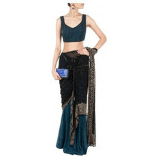 Block print draped sari with chains available only at Pernia's Pop-Up Shop.