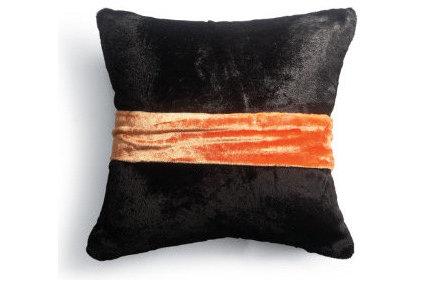 Home Decor Black Velvet Halloween Pillow with Sash in Orange