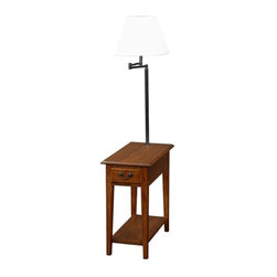 Leick Furniture - Favorite Finds Chairside Lamp Table - Open display shelf. Bell shaped, Ecru shade. Enclosed drawer storage. Durable solid wood top. Swing arm lighting. Solid hardwood. Minimal assembly required. 23.5 in. W x 12 in. D x 57 in. HThis chairside silhouette stands at your service beside recliners and upholstery where space is short. Layered with useful features rising up from the open display shelf, enclosed drawer storage, durable solid wood top, and finally the convenient, swing arm lighting at the perfect height for reading.