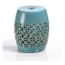 Cut-Out Ceramic Garden Stool - Indoors or out, a classically designed, multi-functional design piece for use as a side table or as spare seating in the garden. Patterned cut outs dazzle as the pop of teal hue makes the Seville Garden Stool the perfect transitional piece for any space.