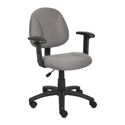 Boss Chairs - Boss Chairs Boss Grey Deluxe Posture Chair with Adjustable Arms - Thick padded seat and back with built-in lumbar support. Waterfall seat reduces stress to legs. Adjustable back depth. Pneumatic seat height adjustment. 5 star nylon base allows smooth movement and stability. Hooded double wheel casters. With adjustable arms.