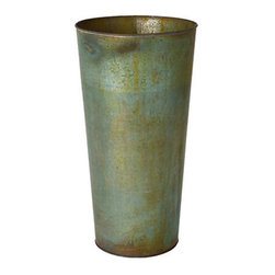 Verdigris Planter - This slim planter with a verdigris finish would go with any exterior style.