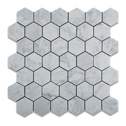 "Tiles R Us - Carrara White Marble Polished 2 Inch Hexagon Mosaic Tile, 1 Sq. Ft. - - Italian Carrara White Marble 2"" Hexagonal Polished (Shiny Finish) Mosaic Tile."