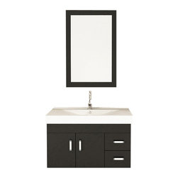"JWH Imports - 35.5"" Lyra Single Sink Wall Mounted Modern Bathroom Vanity Furniture Cabinet - Give your bathroom an open and airy feel by installing a wall mounted vanity. This sleek black and white cabinet features an integrated microlite sink, brushed nickel handles and ample space for your toiletries. Add a contemporary mirror and faucet to complete your modern bath oasis."