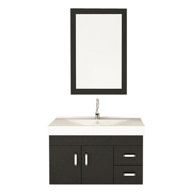 """JWH Imports - 35.5"""" Lyra Single Sink Wall Mounted Modern Bathroom Vanity Furniture Cabinet - Give your bathroom an open and airy feel by installing a wall mounted vanity. This sleek black and white cabinet features an integrated microlite sink, brushed nickel handles and ample space for your toiletries. Add a contemporary mirror and faucet to complete your modern bath oasis."""