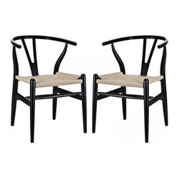 Modway Imports - Modway EEI-1319-BLK Amish Dining Armchair Set of 2 In Black - Modway EEI-1319-BLK Amish Dining Armchair Set of 2 In Black