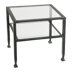 Holly & Martin - Guthrie Metal Cocktail Table - Sturdy metal and clear glass collide and the result is a happy and practical little side table. Show off your favorite books on the bottom shelf and keep them free of dreaded beverage rings. The tabletop will hold your cup of Jo just fine, thank you.