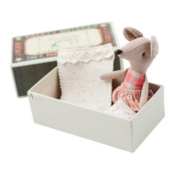Maileg - Mouse, Big Sister in Box - Here's an instant friend for your little one's first sleepover. This cute-as-a-button mouse is stitched in cotton and comes ready with pajamas and bedding all tucked neatly into a matchbox. Pick the brother or sister mouse as another set of big ears for bedtime stories.
