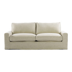 "Casual 83"" Linen Upholstered Sofa - Casual style sofa with new age eco-style beige linen. Casual skirted slipcover. Eight-way hand-tied spring suspension and coordinating back cushions are all 50% feather and down + 50% polyfiber wrapped around a 4-1/2"" foam core, hardwood frame. Hardwood ash legs with Antique E272 finish."
