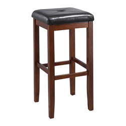 Crosley - Upholstered Square Seat Bar Stool in Vintage Mahogany Finish with 29 Inch Seat H - Constructed of solid hardwood, this X-Back style bar stool is designed for longevity. Contoured seats and shaped back provide the ultimate in comfort. Skilled craftsmanship and attention to detail is sure to put the finishing touch on your home.