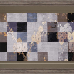 Paragon Decor - Blossom Panel I Artwork - Blossoms overlay a muted patchwork background.  Matted in timber and framed in rustic molding.